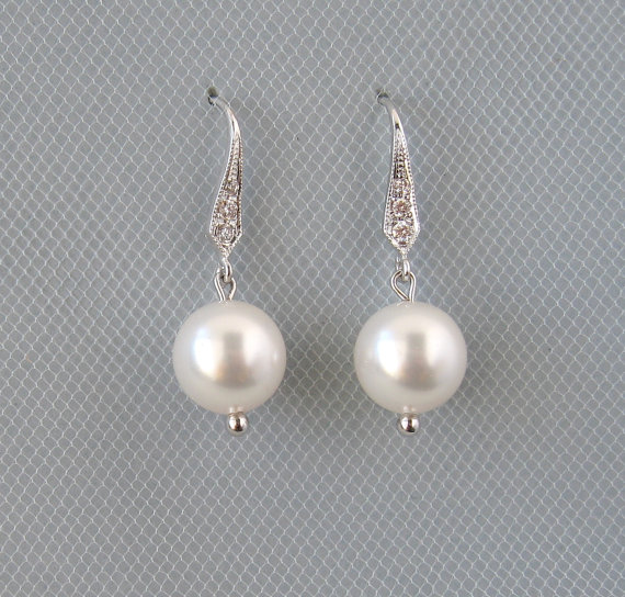 Hochzeit - Genuine Swarovski White Pearls in Rhodium Plated Earrings - Bridal Earrings -  Bridesmaid Gift - Wedding Jewelry - Dangle Earrings - DK442