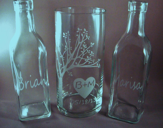 Hochzeit - Wedding Sand Unity  Set - Rustic Personalized for the Bride and Groom -  Custom Etched Glass