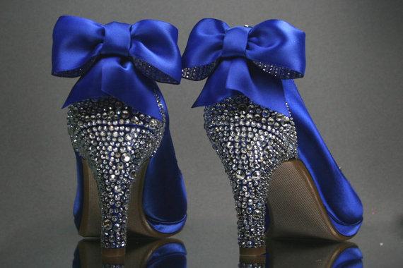 Wedding Shoes Royal Blue Peep Toe Wedding Shoes With