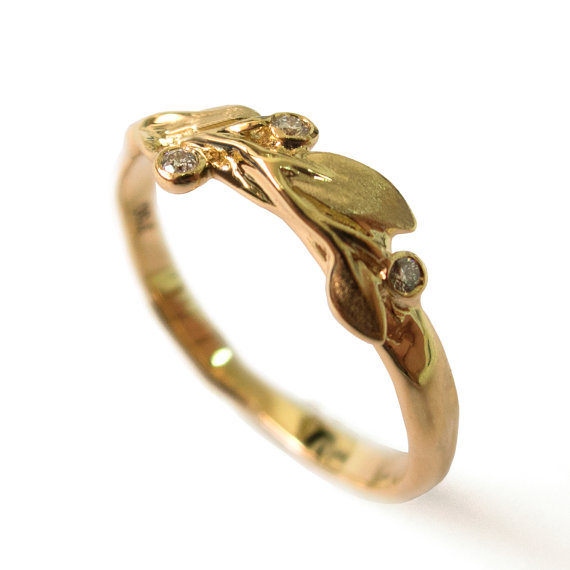 leaves diamond ring no9 18k yellow gold and diamonds engagement ring engagement ring leaf ring filigree antiqueart nouveauvintage - Wedding Rings Without Diamonds