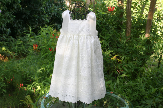 Wedding - Flower girl dress ivory with satin ribbon shoulder ties, fully lined. .available in sizes 1 thru 10