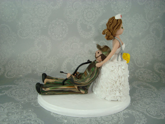 Nurse Dragging Hunter Personalized Wedding Cake Topper