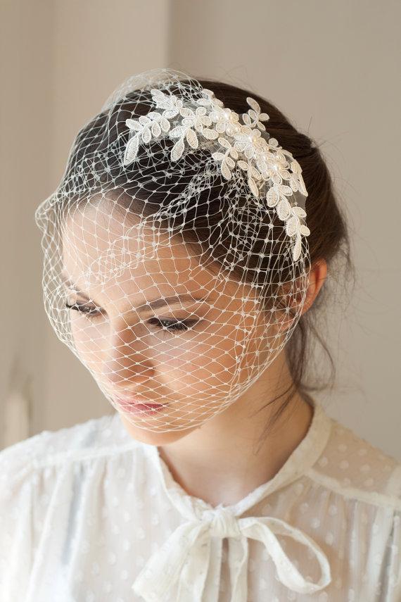 Mariage - Lace birdcage veil with Swarovski pearls, full birdcage veil with beaded lace, Wedding Veil