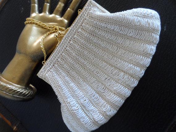 Mariage - Vintage 1960's-1970's Clutch * Iridescent Beads & Crochet . LA REGALE . Formal . Wedding . Party . Prom . Excellent Vintage Condition