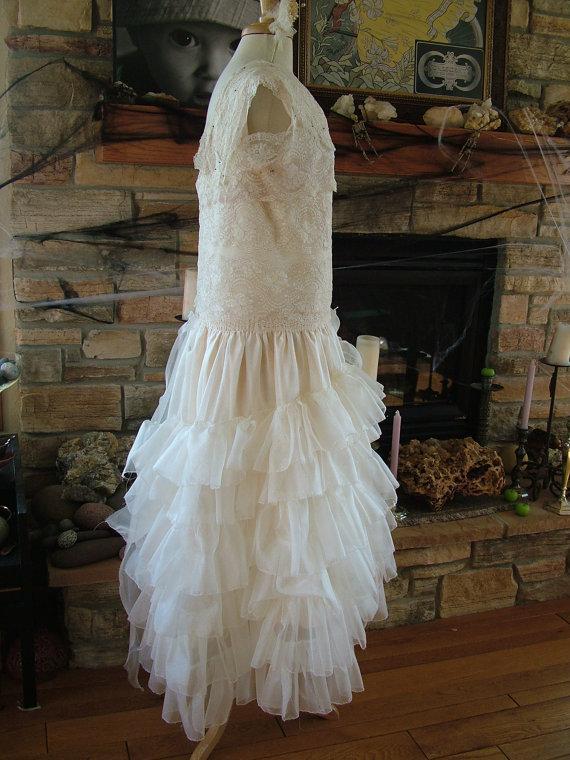 Свадьба - 1920s Vintage Inspired Wedding dress bridal gown flapper wedding dress handmade to order