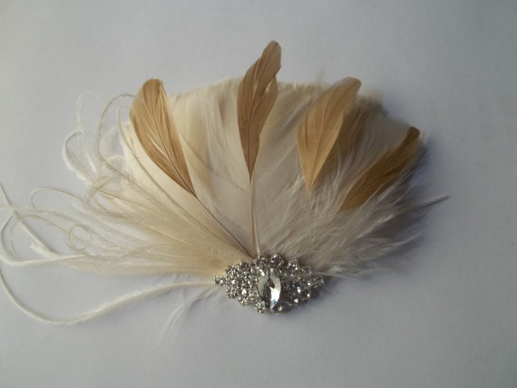 Mariage - Ivory and Gold Bridal Fascinator Feather hair Accessory,Wedding Hair Clip large Rhinestone Jewel - ship ready