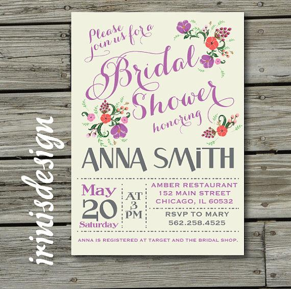 Antique country shabby chic bridal or baby floral flowers shower antique country shabby chic bridal or baby floral flowers shower rustic wedding shower invitation purple invitation vintage typography filmwisefo
