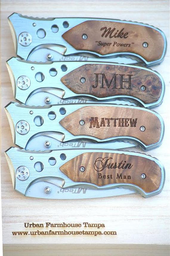 زفاف - 6 Personalized Groomsmen Gifts - Custom Engraved Wood Handle Pocket Knife Hunting Knives - Groomsman Best Man Ring Bearer Gift