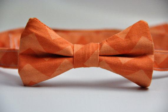 Wedding - Boy's Bowtie Orange Chevron Bow Tie for Children