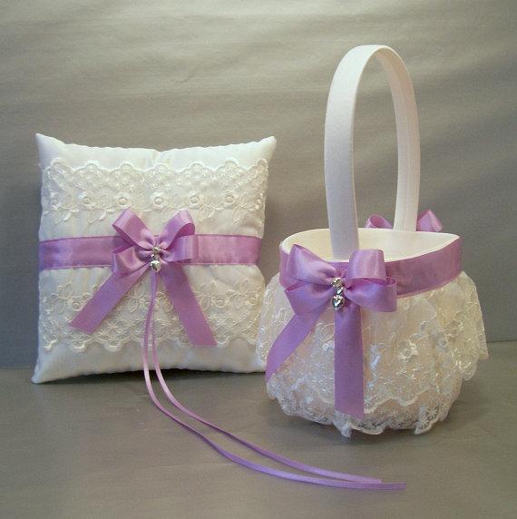 Orchid Wedding Bridal Flower Girl Basket And Ring Bearer Pillow Set On