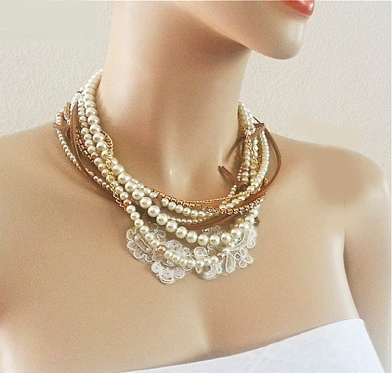 Pearl Necklace Bohemian Bridal Necklace Chunky Pearl Leather Lace