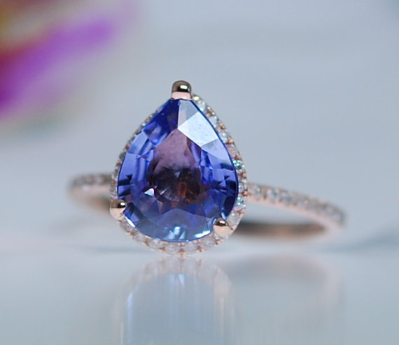 Hochzeit - Blue Sapphire Engagement Ring 14k Rose Gold 2.39ct Pear Sapphire Ring