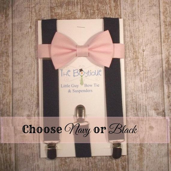 زفاف - Blush Bow Tie and Navy Suspenders, Toddler Suspenders, Baby Suspenders, Ring Bearer, Pale Pink, Soft Pink, Light Pink