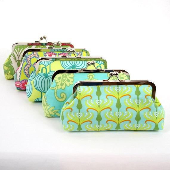 Mariage - Aqua Green Wedding Clutch, Bridesmaid Clutch Purse, Bridesmaid Gift by ModDotTextiles - You choose the fabrics