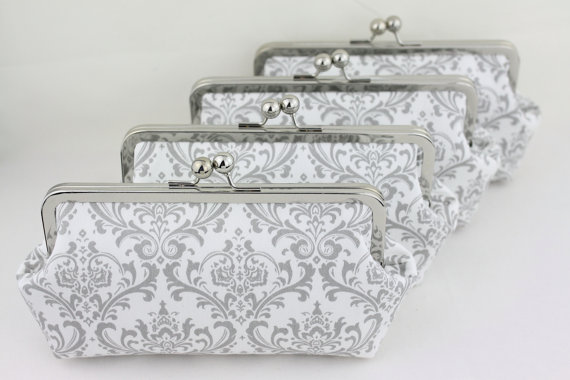 Mariage - Gray & White Damask Bridesmaid Clutches / Wedding Purses / Floral Bridesmaid Purse Clutch - Set of 8