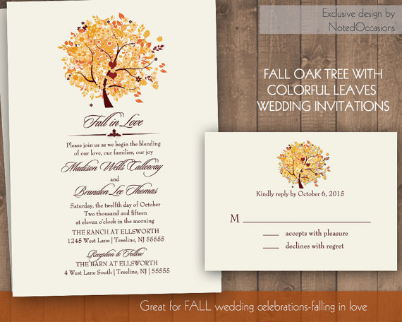 Hochzeit - Autumn Oak Tree Fall Wedding Invitation Set Printable