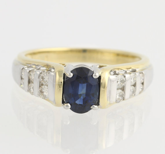 زفاف - Sapphire & Diamond Ring - 18k Yellow and White Gold High Karat Engagement 1.32ctw F7171