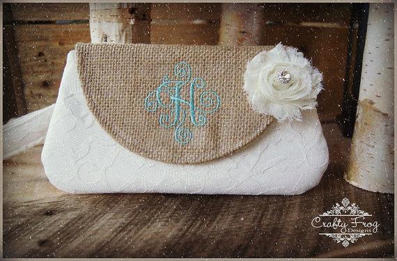 Wedding - Clutch -Burlap Clutch - Satin Clutch -  Bridesmaid Clutches - Pouch - Formal - Wedding - Boutique - chevron clutch