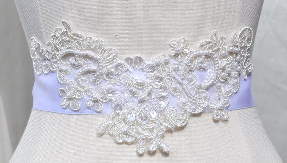Wedding - Ready to ship - Wedding Sash/Belt,Bridal Sash,lace Sash,Beaded Sash WB2