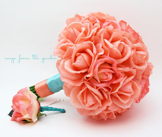 زفاف - Reserved - Coral Real Touch Roses Tiffany Blue Aqua Wedding Bouquet Bridesmaids Bouquets Boutonnieres Corsages Gazebo Arrangements