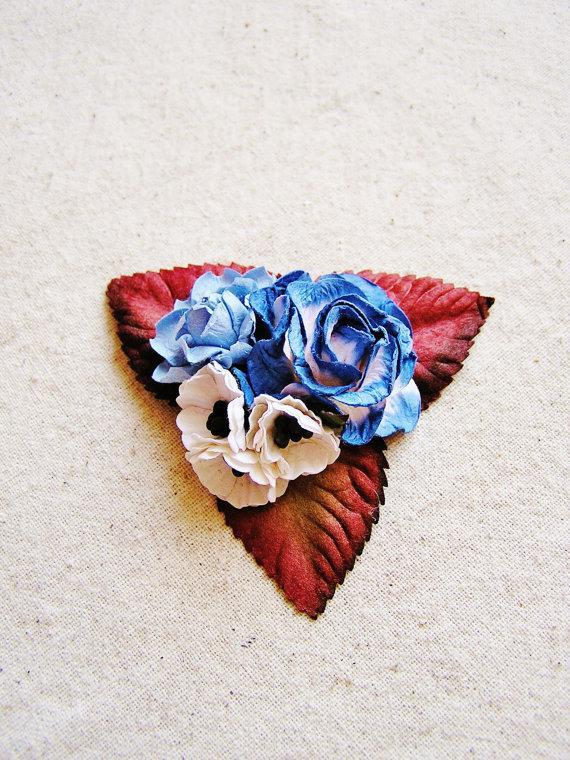 زفاف - Dusk Blue, Periwinkle, Cream Mixed bunch Vintage style Millinery Flower spray Bouquet- corsage, floral shabby chic-32514 OOAK