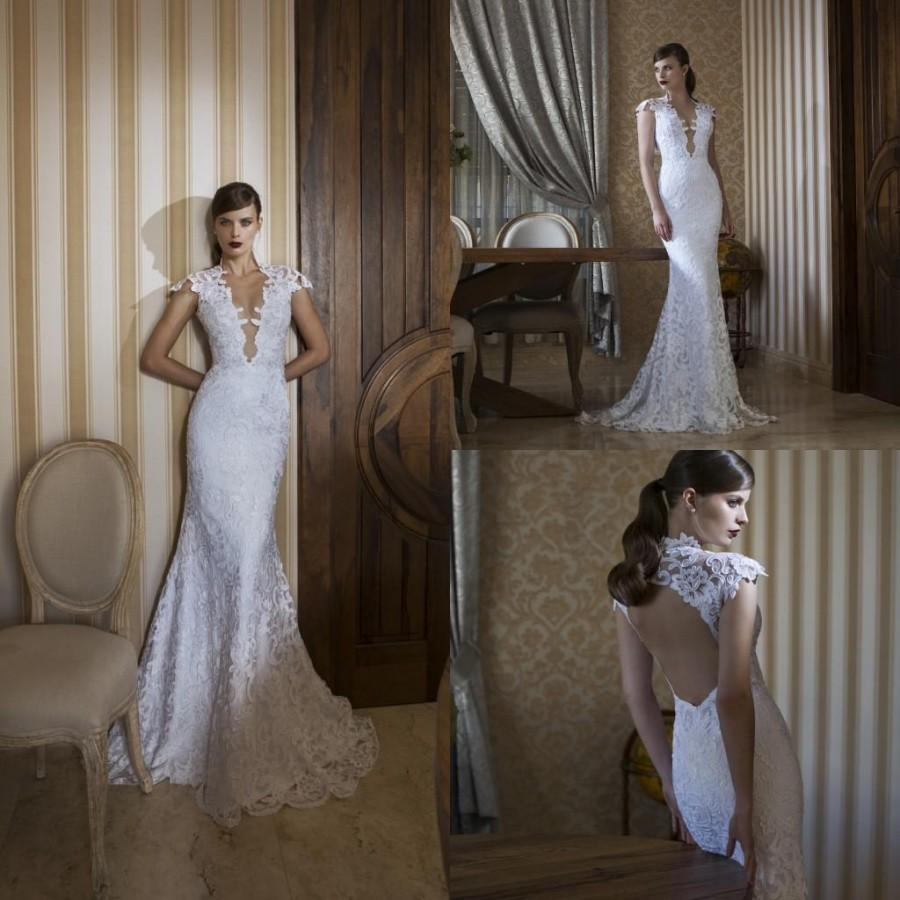 2015 hollow mermaid cheap wedding dresses sexy v neck cap for Around the neck wedding dresses