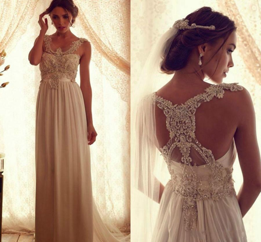 Charming 2015 Wedding Dresses Anna Campbell A Line Scoop Beaded