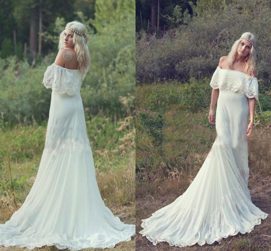 2015 bohemian spring a line cheap wedding dresses hippie for Bohemian wedding dress shops