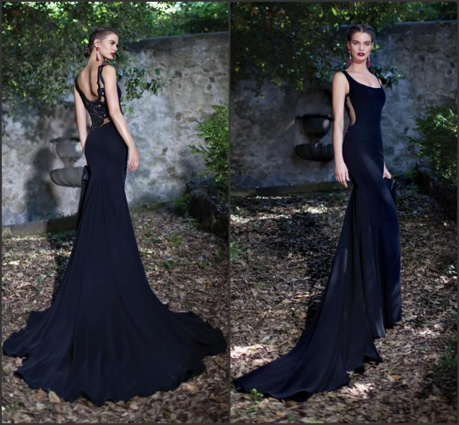 Modest Tarik Ediz Mermaid Evening Dresses 2015 Black Embroidery