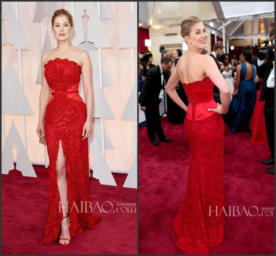 Wedding - Glamourous Red Lace Celebrity Dress 2015 87th Oscar Rosamund Pike Evening Dresses Split Strapless Prom Party Formal Dresses Red Carpet Online with $115.3/Piece on Hjklp88's Store