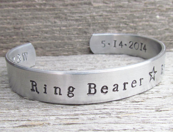 Wedding - Ring Bearer Toddler or Child Size Name Bracelet WEDDING PARTY Hand Stamped Jewelry Custom Cuff Aluminum Personalized Customize Little BOY