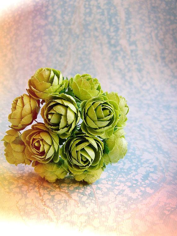 Wedding - Chartreuse green Garden Roses Vintage style Millinery Flower Bouquet - for decorating, gift wrapping, weddings, party supply, holiday