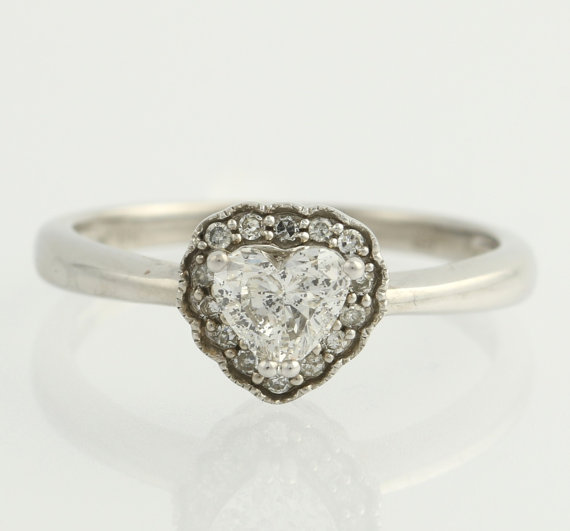 Mariage - Heart Halo Diamond Engagement Ring - 14k White Gold Solitaire w/ Accents .63ctw F3930