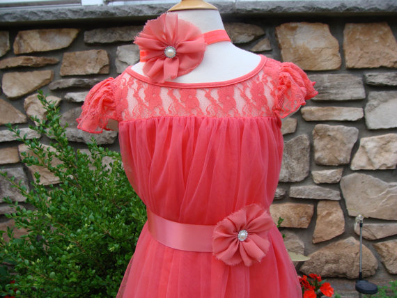 Wedding - Coral flower girl, Wedding dress,Lace baby dress,coral baby dress,girls dress,flower girl dress,lace dress,birthday dress,toddler dress