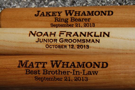 Wedding - Personalized Baseball Bat, Custom Baseball Bat, Engraved Baseball Bat, Ring Bearer Gift, Junior Groomsman Gift, Best Man Gift