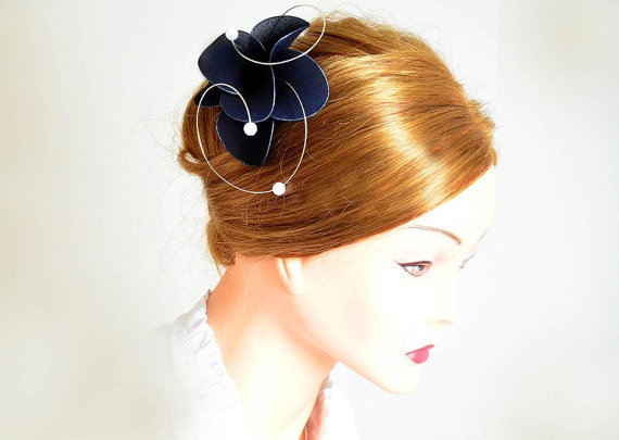 Navy blue fascinator Navy fascinator Blue hair piece Bridesmaid hair Bridal  headpiece Wedding hair accessories Hair flower 668c38e983c