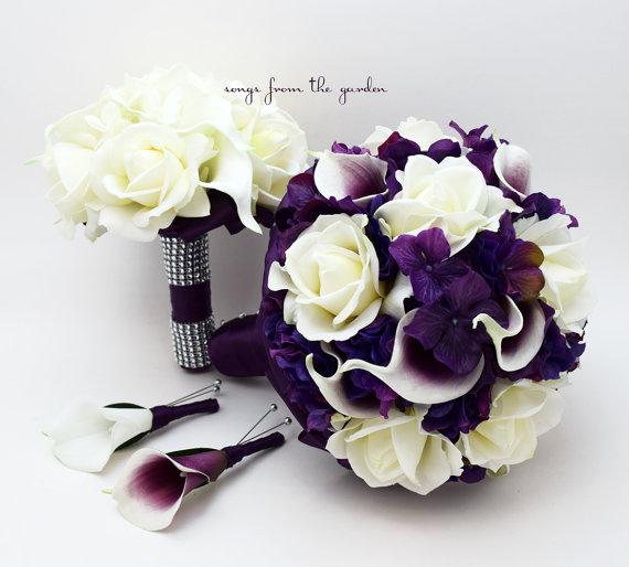 Wedding - Purple Wedding Package Real Touch Picasso Callas Roses Purple Hydrangea Real Touch Rose Bridal Bouquet Grooms Boutonniere Bridesmaid Bouquet