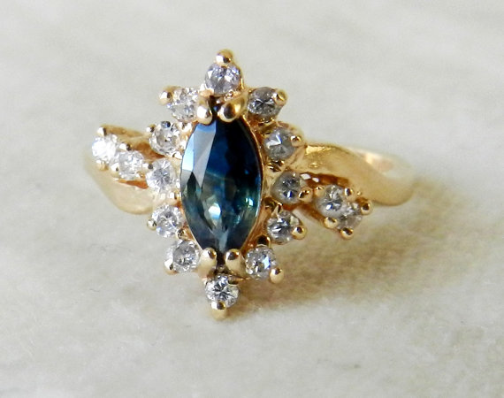 زفاف - Vintage Antique Sapphire Engagement Ring 14K Gorgeous Genuine Blue Sapphire Engagement Ring Half Carat tdw Diamond Halo Engagement Ring 14K