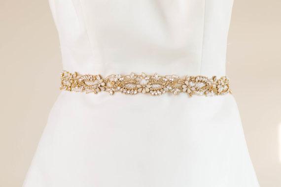 Свадьба - Gold and opal bridal sash, rhinestone encrusted sash, Style sash R23  (Made to Order)