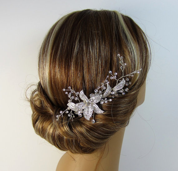 Mariage - Natalie Bridal Hair Comb, Crystal Bridal hair comb, Wedding hair accessories, Bridal Headpieces, Rhinestone hair comb bridal