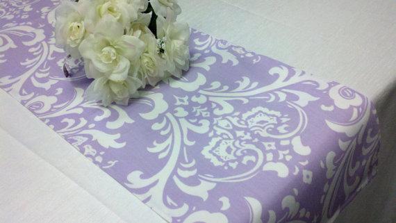 CHOOSE SIZES RUNNER Damask Table Runner Osborne White On Wisteria Lilac  Light Purple Lavender Wedding Bridal