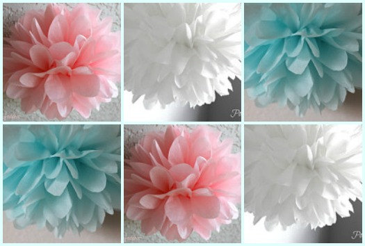 Gender Baby Reveal Decorations 10 Tissue Poms Boy Baby Shower Girl