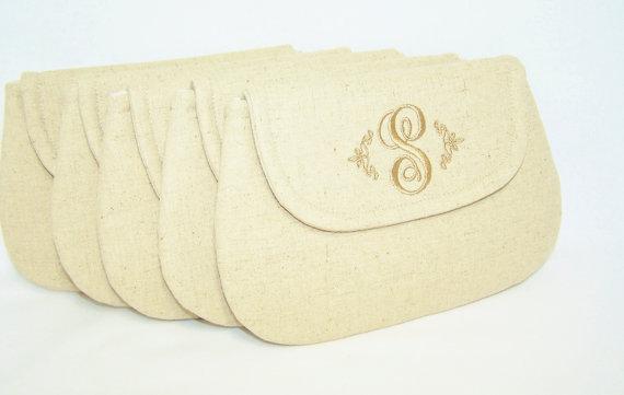 Wedding - Bridesmaids Set  - Personalized Linen Blend Clutch -- Wedding Clutch - Bridesmaid Clutch