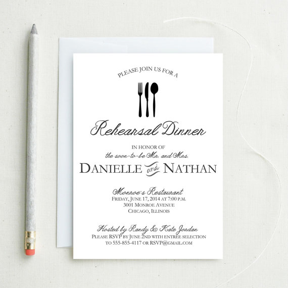 Свадьба - Rustic Rehearsal Dinner Invitation.  Elegant Vintage Flatware Rehersal Dinner Invite.