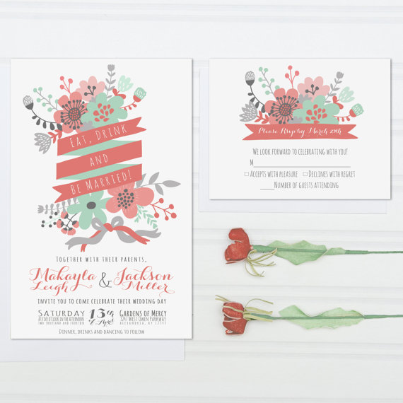 Hochzeit - Unique Wedding Invitations, Eat, Drink and Be Married, Mint Green and Coral Pink Invite Suite with RSVP Cards, Modern Flowers, Set of 50