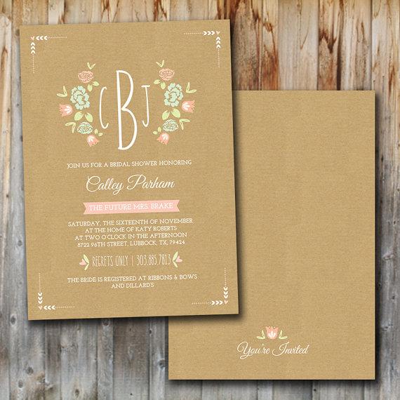 Свадьба - Monogram Wedding Shower Invitation, Printable, Bridal Shower, Insert, Couples Shower Invitation, Lingerie