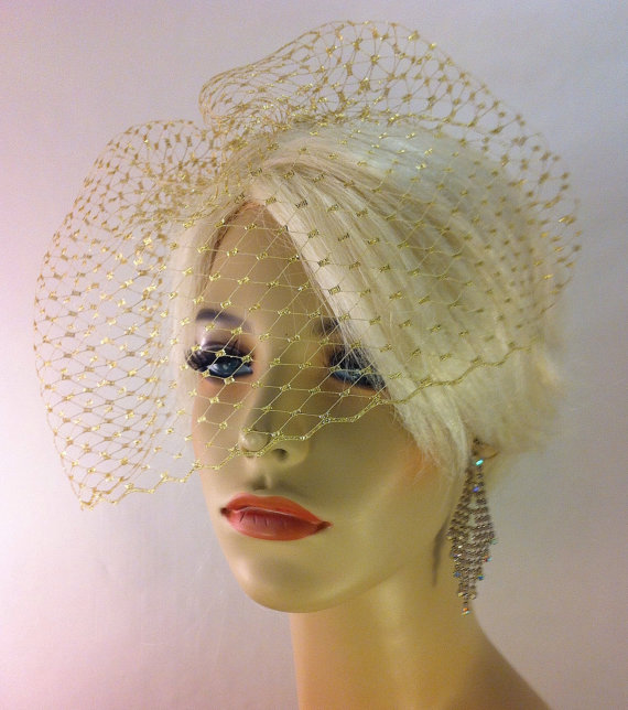 "Mariage - Metallic Gold or Silver, Ivory, White or Black 9"" Birdcage Blusher Veil on Comb, Bridal Veil, Wedding Veil"