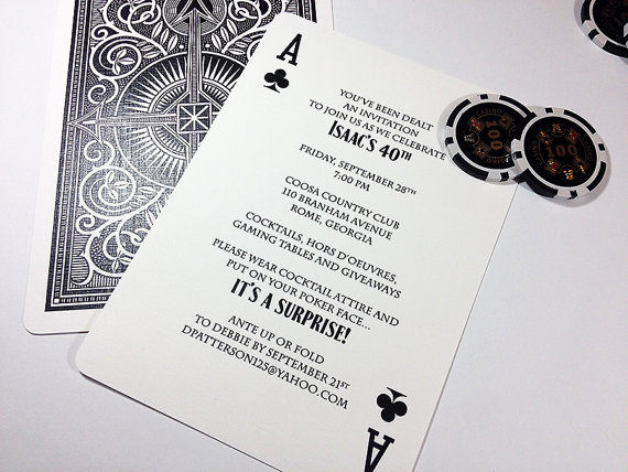 Wedding - Ace of Hearts, Diamonds, Clubs or Spades Poker Playing Card Shower, Party or Tournament Invitation DEPOSIT