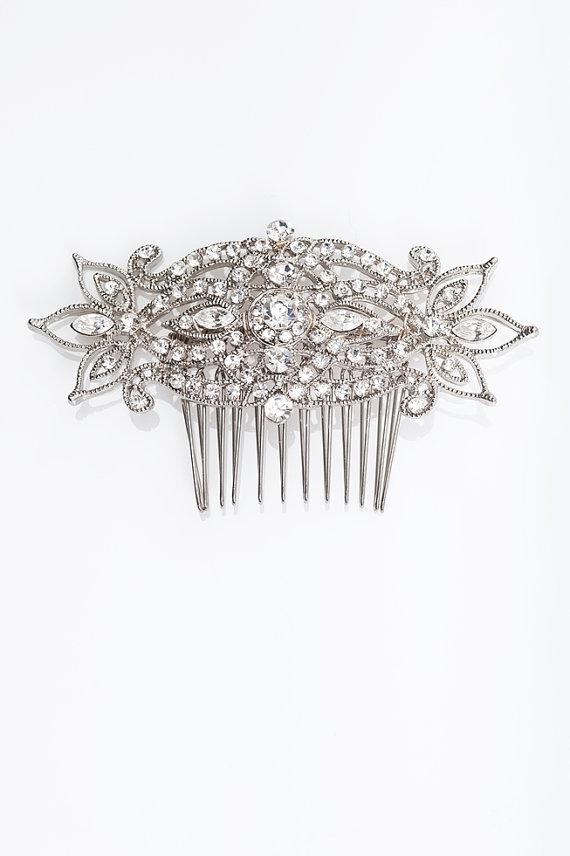 Свадьба - crystal hair comb ,  vintage style hair comb, wedding rhinestone hair comb, veil comb - CB0007