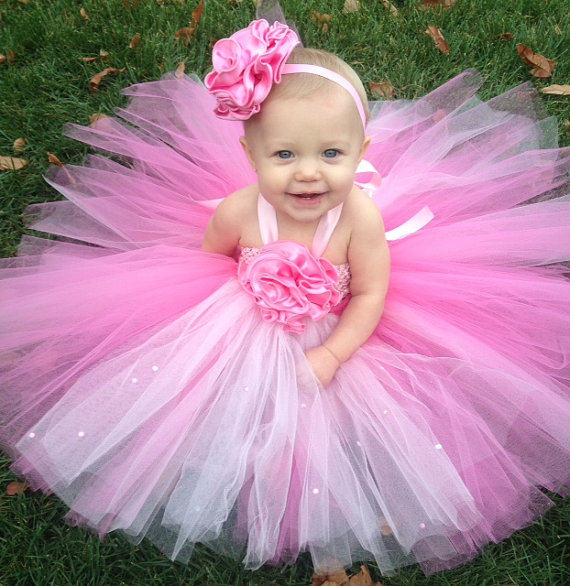 Wedding - Pretty in Pink Tutu Easter Dress Set , Fully Customizable, Special Occassion Dress, Flower Girl Dress, Baptism, Christening, Birthday Tutu